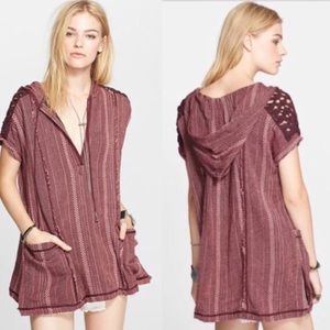 Free People Hooded Oversize Poncho Cover Up XS